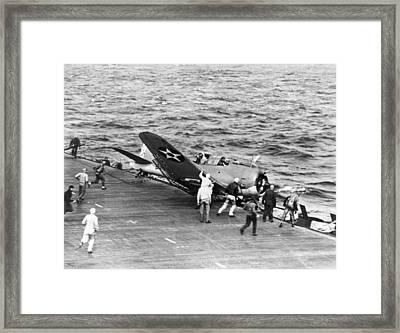 Flight Deck Crash Framed Print by Underwood Archives
