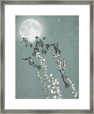 Flight Of The Salary Men Framed Print by Eric Fan