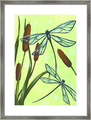 Flight Through The Cat Tails Framed Print by Elaina  Wagner