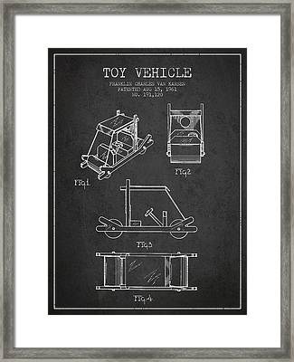 Flintstones Toy Vehicle Patent From 1961 - Charcoal Framed Print by Aged Pixel