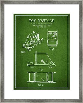 Flintstones Toy Vehicle Patent From 1961 - Green Framed Print by Aged Pixel