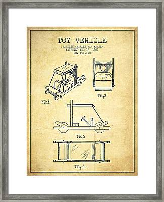 Flintstones Toy Vehicle Patent From 1961 - Vintage Framed Print by Aged Pixel