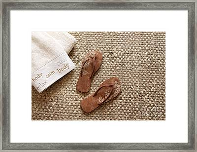 Flip Flops With Towels On Seagrass Rug Framed Print by Sandra Cunningham