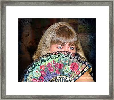 Flirting With The Fan Framed Print by Mariola Bitner