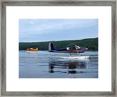 Float Planes On Keuka Framed Print by Joshua House