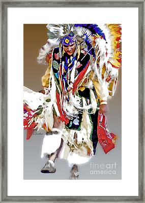 Floating Native Dancer Framed Print by Linda  Parker