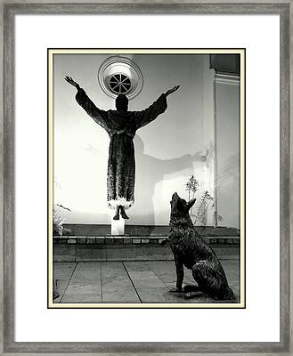 Floating Saint And Wolf Framed Print by Daniel Gomez