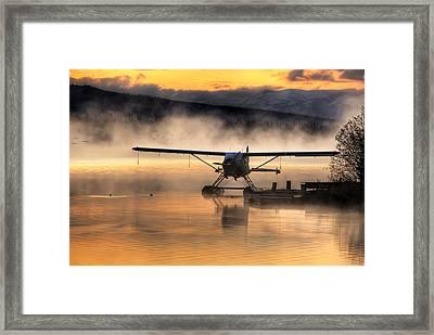 Floatplane Sitting On Beluga Lake Framed Print by Michael Criss