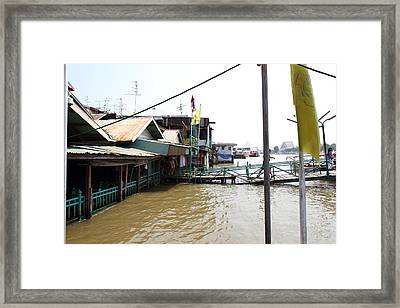 Flooded Docks Of A River Boat Taxi In Bangkok Thailand - 01131 Framed Print by DC Photographer