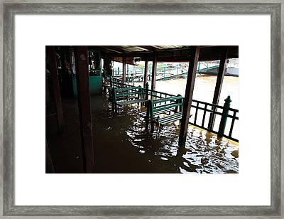 Flooded Docks Of A River Boat Taxi In Bangkok Thailand - 01132 Framed Print by DC Photographer