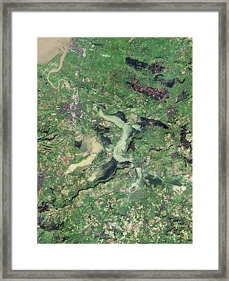 Flooded Somerset Levels Framed Print by Nasa