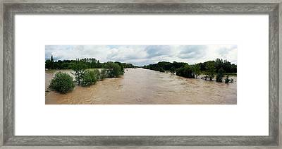 Flooding On The River Thur Framed Print by Michael Szoenyi