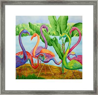 Floosie Flamingos Framed Print by Rhonda Leonard