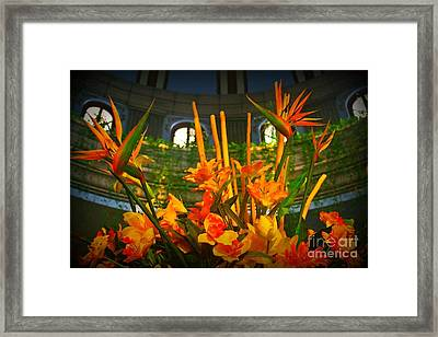 Floral Arragement In Lobby Of The Riu Cancun Hotel Framed Print by John Malone