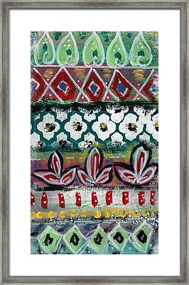 Floral Fiesta- Colorful Pattern Painting Framed Print by Linda Woods