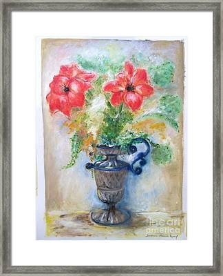Floral In Urn Framed Print by Barbara Anna Knauf