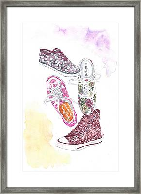 Floral Sneakers Framed Print by Sabina Mollot