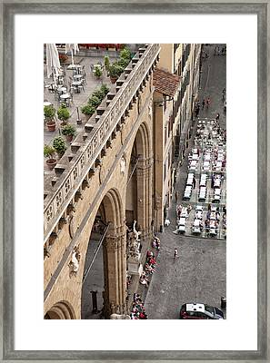 Florence And Piazza Della Signoria Framed Print by Melany Sarafis