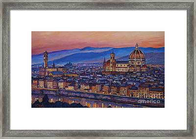 Florence At Night Framed Print by John Clark