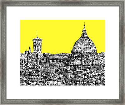 Florence Duomo In Acid Yellow Framed Print by Adendorff Design