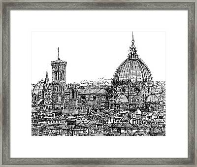 Florence Duomo In Ink  Framed Print by Adendorff Design