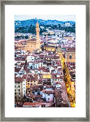 Florence Evening Elevated View Framed Print by Liz Leyden