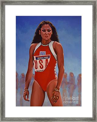 Florence Griffith - Joyner Framed Print by Paul Meijering