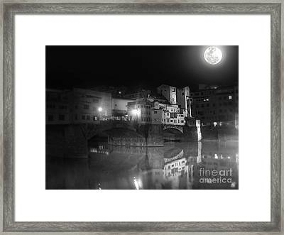 Florence Italy - Ponte Vecchio At Night Framed Print by Gregory Dyer