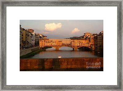 Florence Italy - Ponte Vecchio - Sunset - 01 Framed Print by Gregory Dyer
