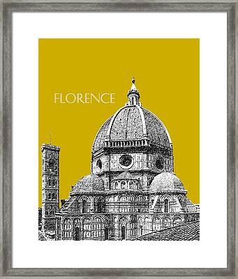 Florence Skyline Cathedral Of Santa Maria Del Fiore 1 - Gold   Framed Print by DB Artist