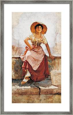 Florentine Flower Girl Framed Print by Frank Duveneck