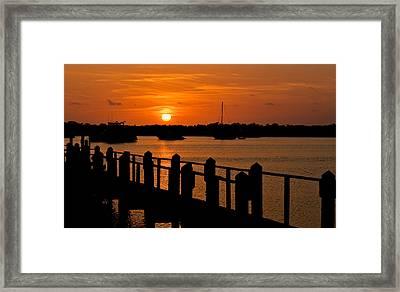 Florida Bay Sunset Framed Print by Ginger Wakem