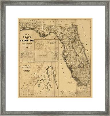 Florida Map Art - Vintage Antique Map Of Florida Framed Print by World Art Prints And Designs
