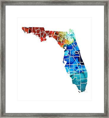 Florida - Map By Counties Sharon Cummings Art Framed Print by Sharon Cummings