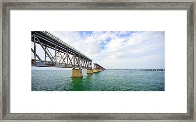 Florida Overseas Railway Bridge Near Bahia Honda State Park Framed Print by Adam Romanowicz