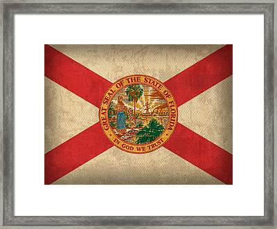 Florida State Flag Art On Worn Canvas Framed Print by Design Turnpike