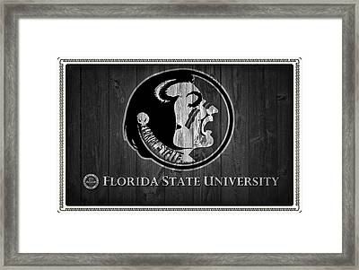 Florida State University Black And White Barn Door Framed Print by Dan Sproul