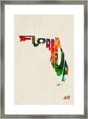 Florida Typographic Watercolor Map Framed Print by Ayse Deniz