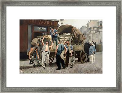 Flour Carriers - Scene From Paris Framed Print by Mountain Dreams