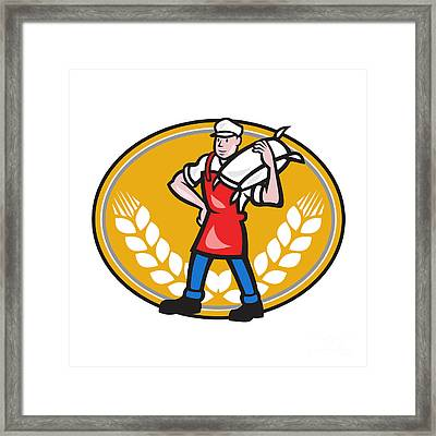 Flour Miller Carry Sack Wheat Oval Framed Print by Aloysius Patrimonio