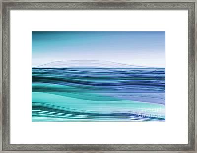 Flow - Cyan Blue Framed Print by Hannes Cmarits