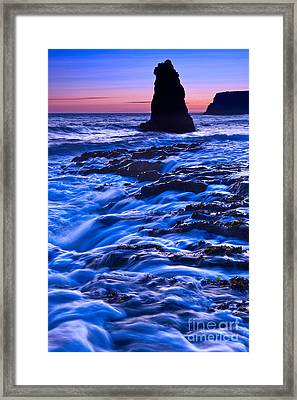Flow - Dramatic Sunset View Of A Sea Stack In Davenport Beach Santa Cruz. Framed Print by Jamie Pham