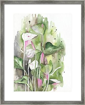 Flower Anthurium 04 Elena Yakubovich Framed Print by Elena Yakubovich