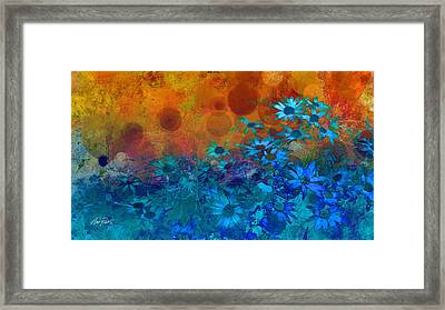 Flower Fantasy In Blue And Orange  Framed Print by Ann Powell