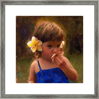 Flower Girl - Tropical Portrait With Plumeria Flowers Framed Print by Karen Whitworth