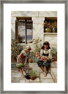 Flower Girls Framed Print by William Stephen Coleman