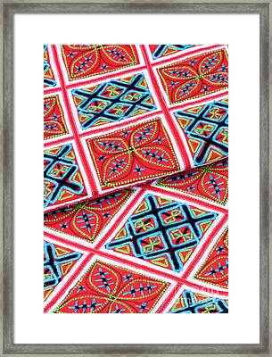 Flower Hmong Embroidery 02 Framed Print by Rick Piper Photography