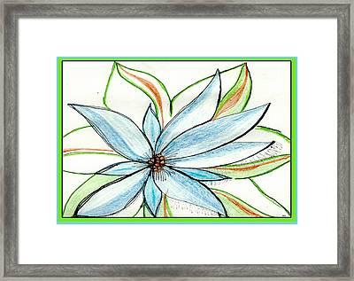 Flower In Blue Framed Print by Becky Sterling