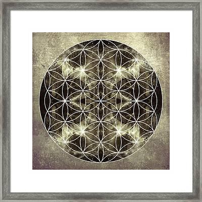 Flower Of Life Silver Framed Print by Filippo B