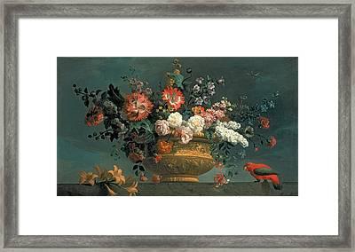Flower Piece With Parrot Framed Print by Jakob Bogdani or Bogdany